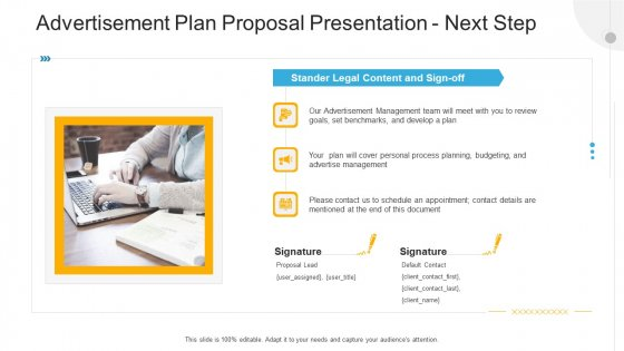 Advertisement Plan Proposal Presentation Next Step Ppt Infographics Layout PDF