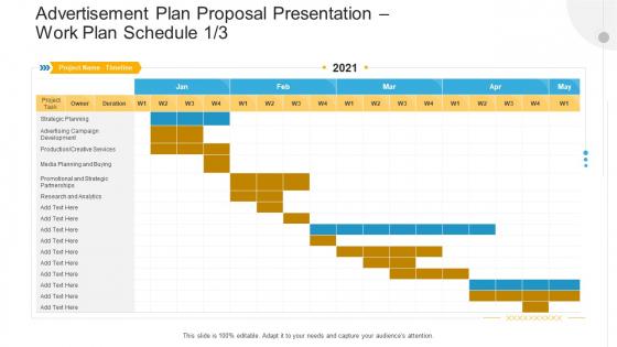 Advertisement Plan Proposal Presentation Work Plan Schedule Planing Ppt Gallery Graphics Download PDF