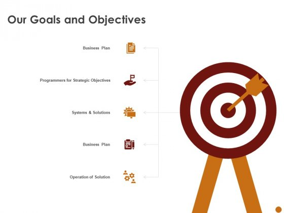 Advertising Existing Products And Services In The Target Market Our Goals And Objectives Diagrams PDF
