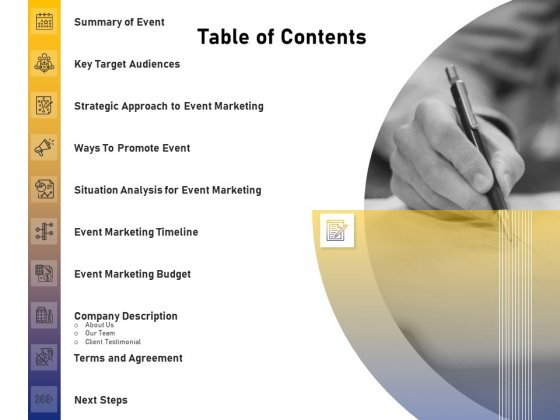 Advocacy And Marketing Campaign Request Table Of Contents Background PDF