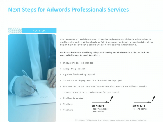 Adwords PPC Next Steps For Adwords Professionals Services Ppt Ideas Clipart PDF