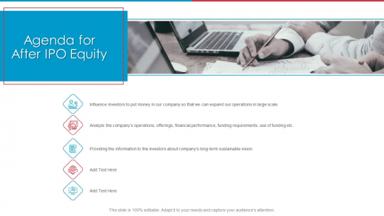 Agenda For After IPO Equity Ppt Gallery Deck PDF