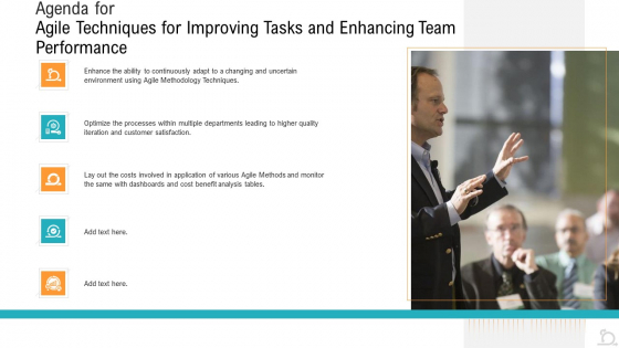 Agenda_For_Agile_Techniques_For_Improving_Tasks_And_Enhancing_Team_Performance_Pictures_PDF_Slide_1