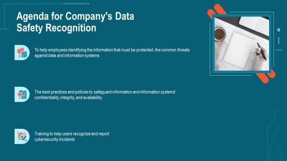 Agenda For Companys Data Safety Recognition Ppt Portfolio Slides PDF