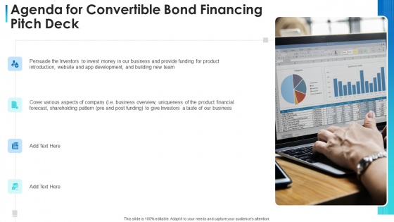 Agenda For Convertible Bond Financing Pitch Deck Ppt Templates PDF