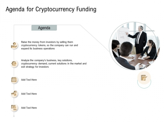 Agenda For Cryptocurrency Funding Virtual Currency Financing Pitch Deck Infographics PDF