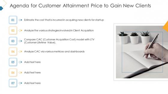 Agenda For Customer Attainment Price To Gain New Clients Ideas PDF