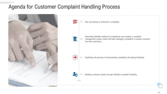 Agenda For Customer Complaint Handling Process Brochure PDF