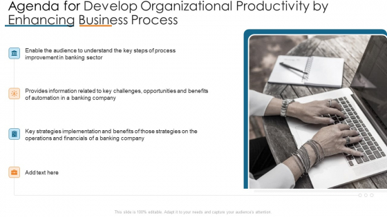 Agenda For Develop Organizational Productivity By Enhancing Business Process Graphics PDF