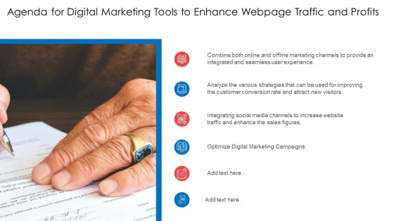 Agenda For Digital Marketing Tools To Enhance Webpage Traffic And Profits Ppt Styles Format PDF