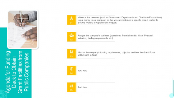 Agenda For Funding Deck To Obtain Grant Facilities From Public Companies Microsoft PDF