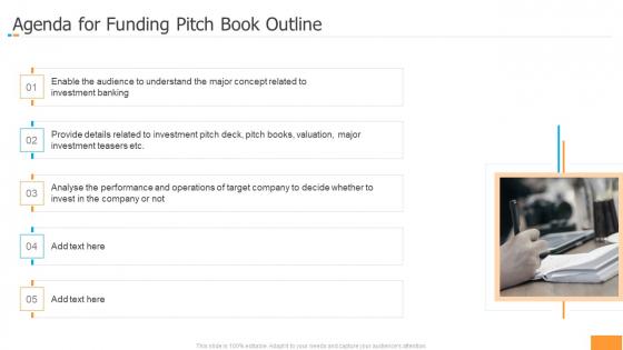 Agenda For Funding Pitch Book Outline Ppt Model Design Ideas PDF