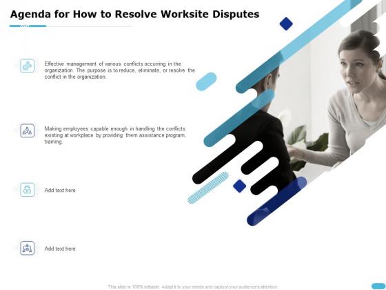 Agenda For How To Resolve Worksite Disputes Ppt Portfolio Microsoft PDF