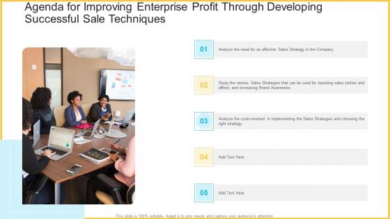 Agenda For Improving Enterprise Profit Through Developing Successful Sale Techniques Download PDF