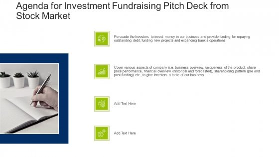Agenda For Investment Fundraising Pitch Deck From Stock Market Pictures PDF