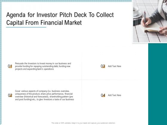 Agenda For Investor Pitch Deck To Collect Capital From Financial Market Topics PDF
