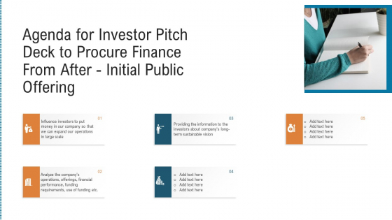 Agenda For Investor Pitch Deck To Procure Finance From After Initial Public Offering Rules PDF