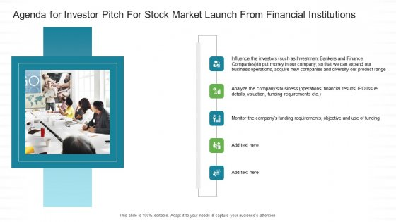 Agenda For Investor Pitch For Stock Market Launch From Financial Institutions Ppt Infographics Aids PDF