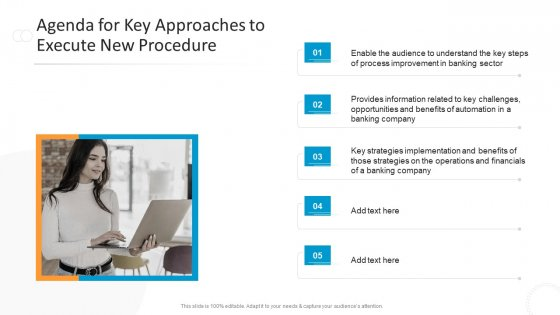 Agenda_For_Key_Approaches_To_Execute_New_Procedure_Designs_PDF_Slide_1