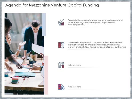 Agenda For Mezzanine Venture Capital Funding Topics PDF