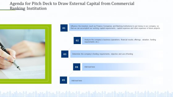 Agenda For Pitch Deck To Draw External Capital From Commercial Banking Institution Diagrams PDF