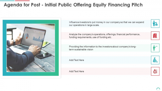 Agenda For Post Initial Public Offering Equity Financing Pitch Ppt Inspiration Icons PDF