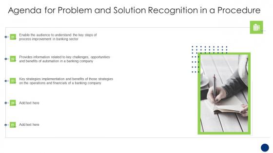 Agenda_For_Problem_And_Solution_Recognition_In_A_Procedure_Slides_PDF_Slide_1