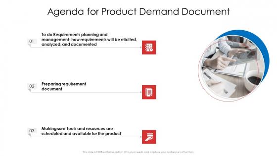 Agenda For Product Demand Document Ppt Show Designs PDF