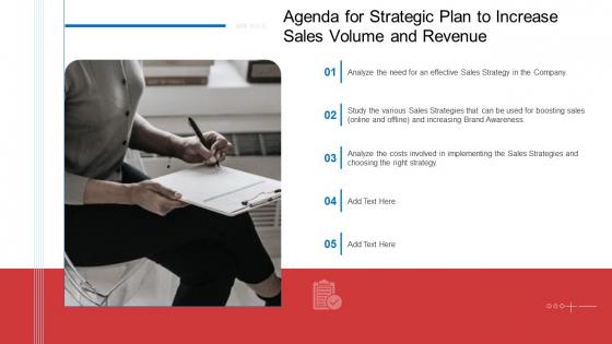 Agenda For Strategic Plan To Increase Sales Volume And Revenue Template PDF