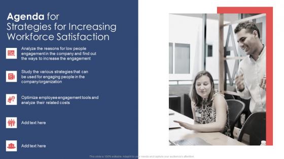 Agenda For Strategies For Increasing Workforce Satisfaction Ppt Slides Background Images PDF
