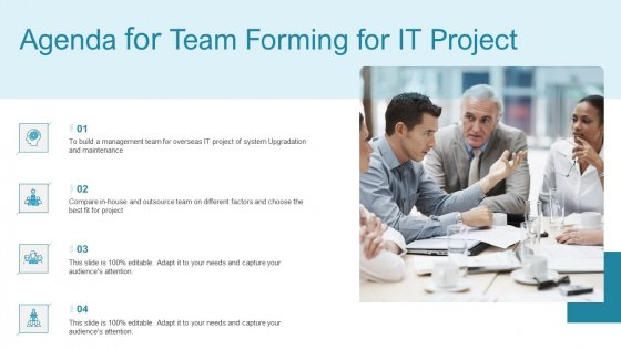 Agenda For Team Forming For IT Project Ppt Layouts Visuals PDF