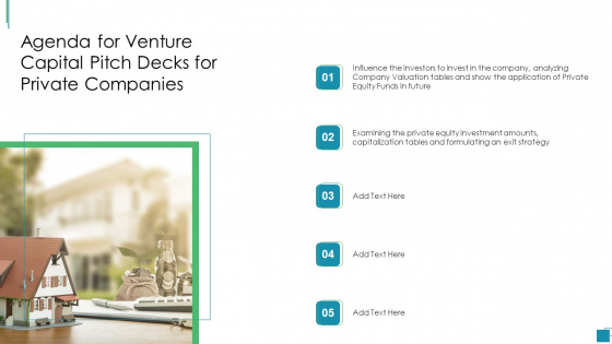 Agenda For Venture Capital Pitch Decks For Private Companies Summary PDF Pictures PDF