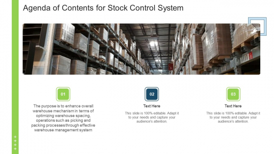 Agenda Of Contents For Stock Control System Ppt Ideas Examples PDF