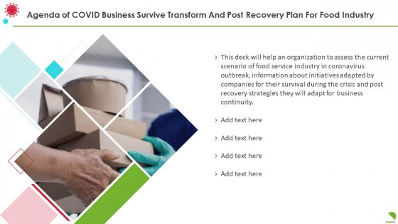 Agenda_Of_Covid_Business_Survive_Transform_And_Post_Recovery_Plan_For_Food_Industry_Designs_PDF_Slide_1