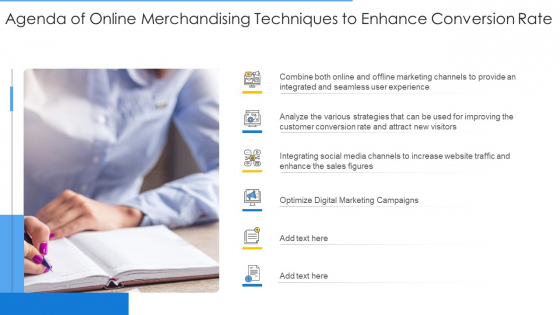 Agenda Of Online Merchandising Techniques To Enhance Conversion Rate Sample PDF