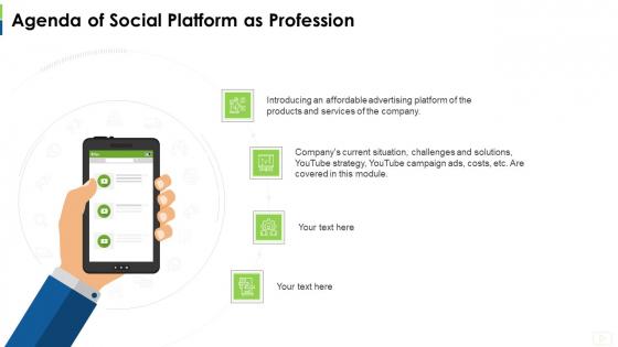 Agenda Of Social Platform As Profession Ppt Inspiration Examples PDF