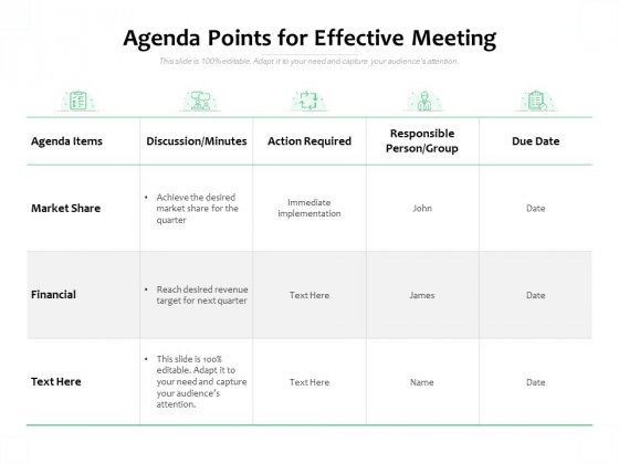 Agenda Points For Effective Meeting Ppt PowerPoint Presentation Summary Files