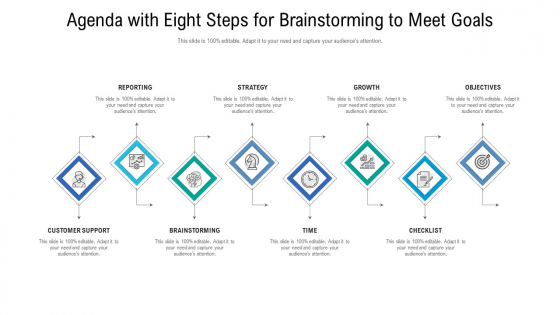 Agenda With Eight Steps For Brainstorming To Meet Goals Ppt File Icons PDF