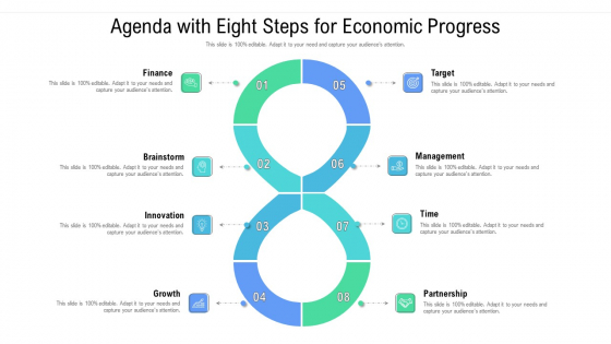 Agenda With Eight Steps For Economic Progress Ppt Inspiration Backgrounds PDF
