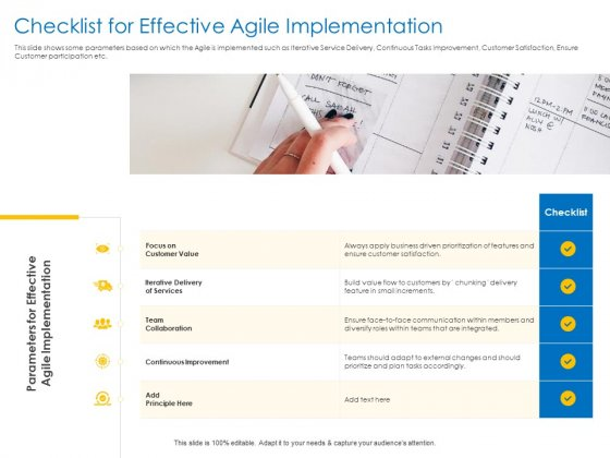 Agile Best Practices For Effective Team Checklist For Effective Agile Implementation Portrait PDF