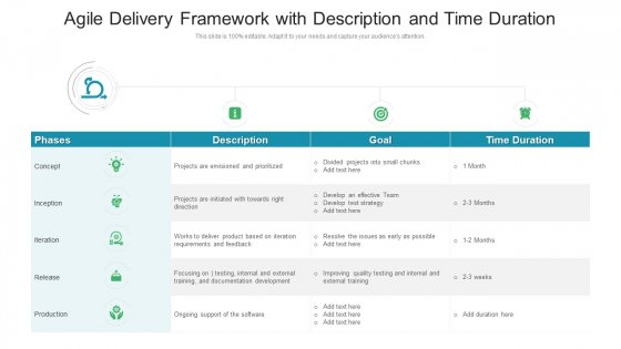 Agile Delivery Framework With Description And Time Duration Ppt Styles Outline PDF