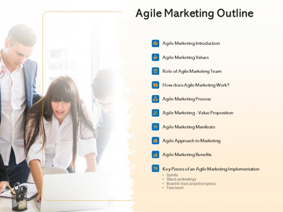 Agile Marketing Approach Agile Marketing Outline Ppt Show Background Image PDF