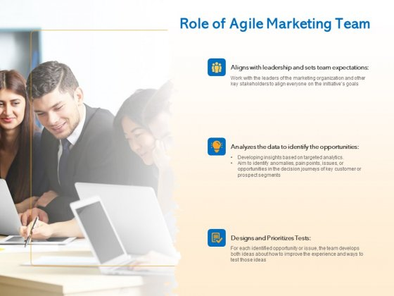 Agile Marketing Approach Role Of Agile Marketing Team Ppt Icon Background PDF