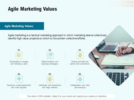 Agile Marketing Values Ppt Icon Examples PDF