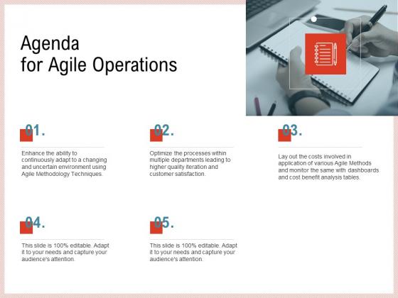 Agile Model Improve Task Team Performance Agenda For Agile Operations Template PDF