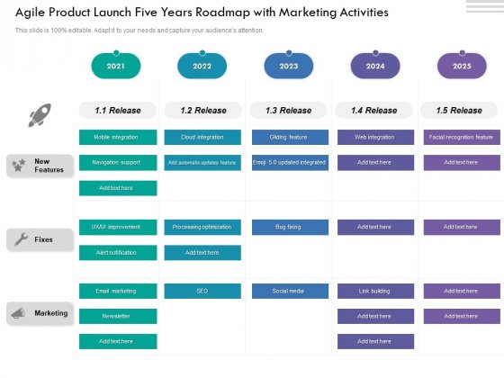 Agile Product Launch Five Years Roadmap With Marketing Activities Pictures