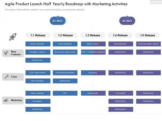 Agile Product Launch Half Yearly Roadmap With Marketing Activities Mockup