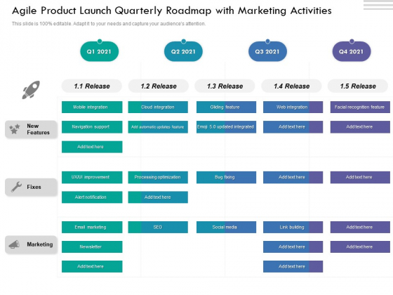 Agile Product Launch Quarterly Roadmap With Marketing Activities Rules