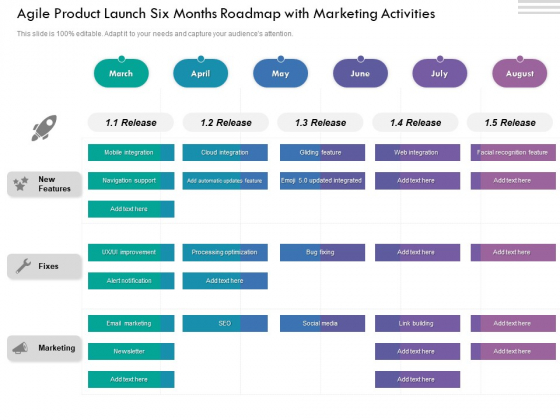 Agile Product Launch Six Months Roadmap With Marketing Activities Clipart