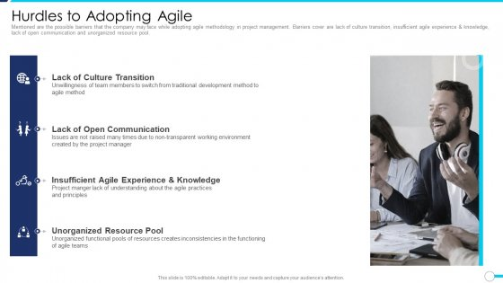 Agile Project Administration Procedure Hurdles To Adopting Agile Ppt Inspiration Outfit PDF